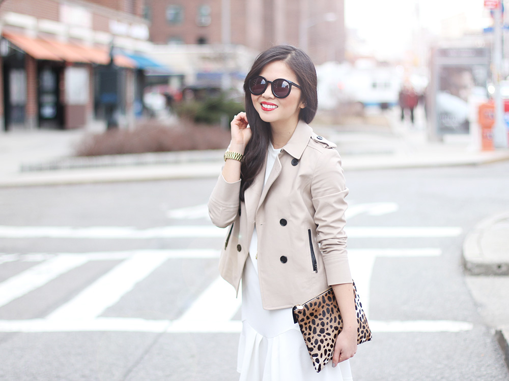 Skirt The Rules // Trench Coat & White Drop Waist Dress