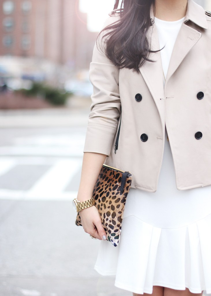 Ann Taylor Cropped Trench Coat & Clare Vivier Leopard Clutch