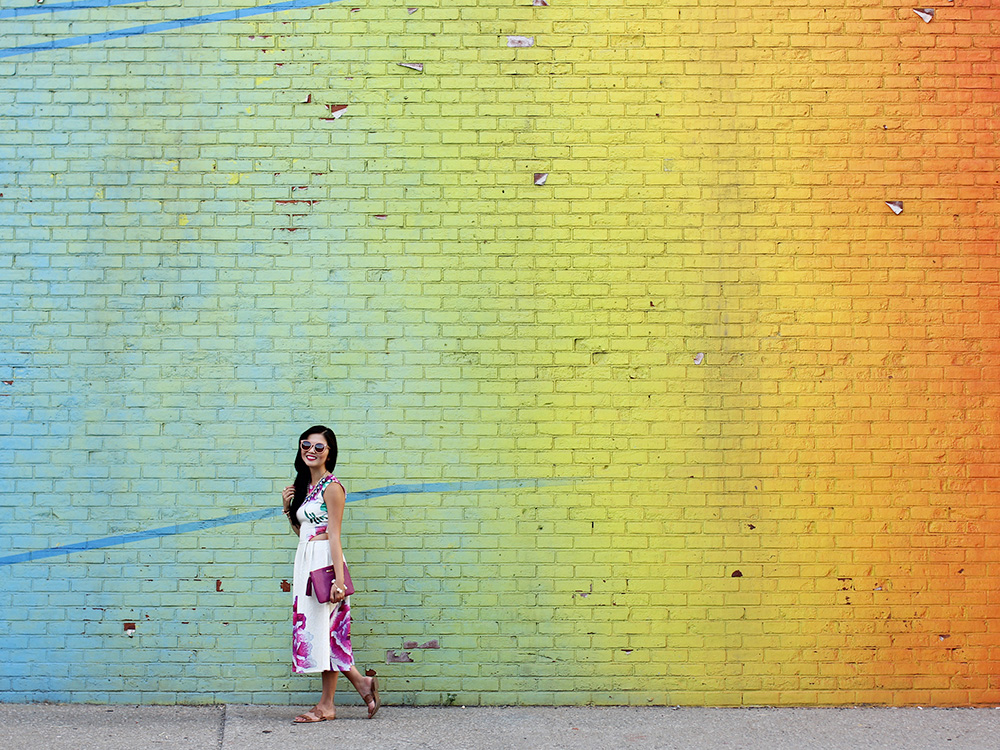 Skirt The Rules // Rainbow Wall in DUMBO