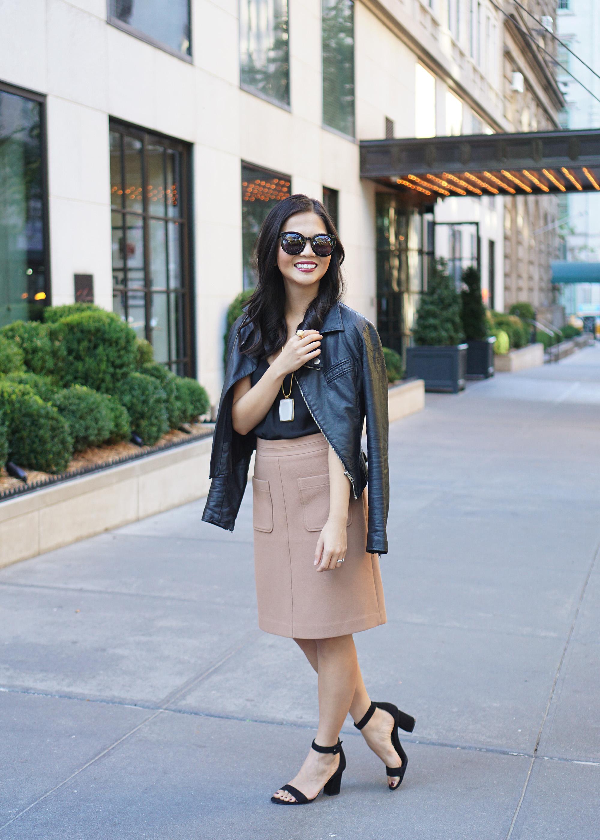 Skirt The Rules / Moto Jacket & Camel Skirt