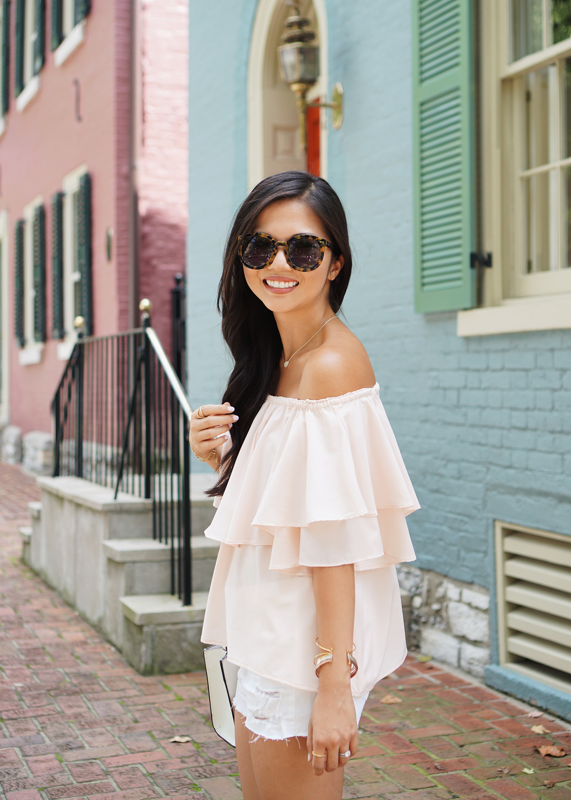 Pink Off the Shoulder Top & White Denim Shorts