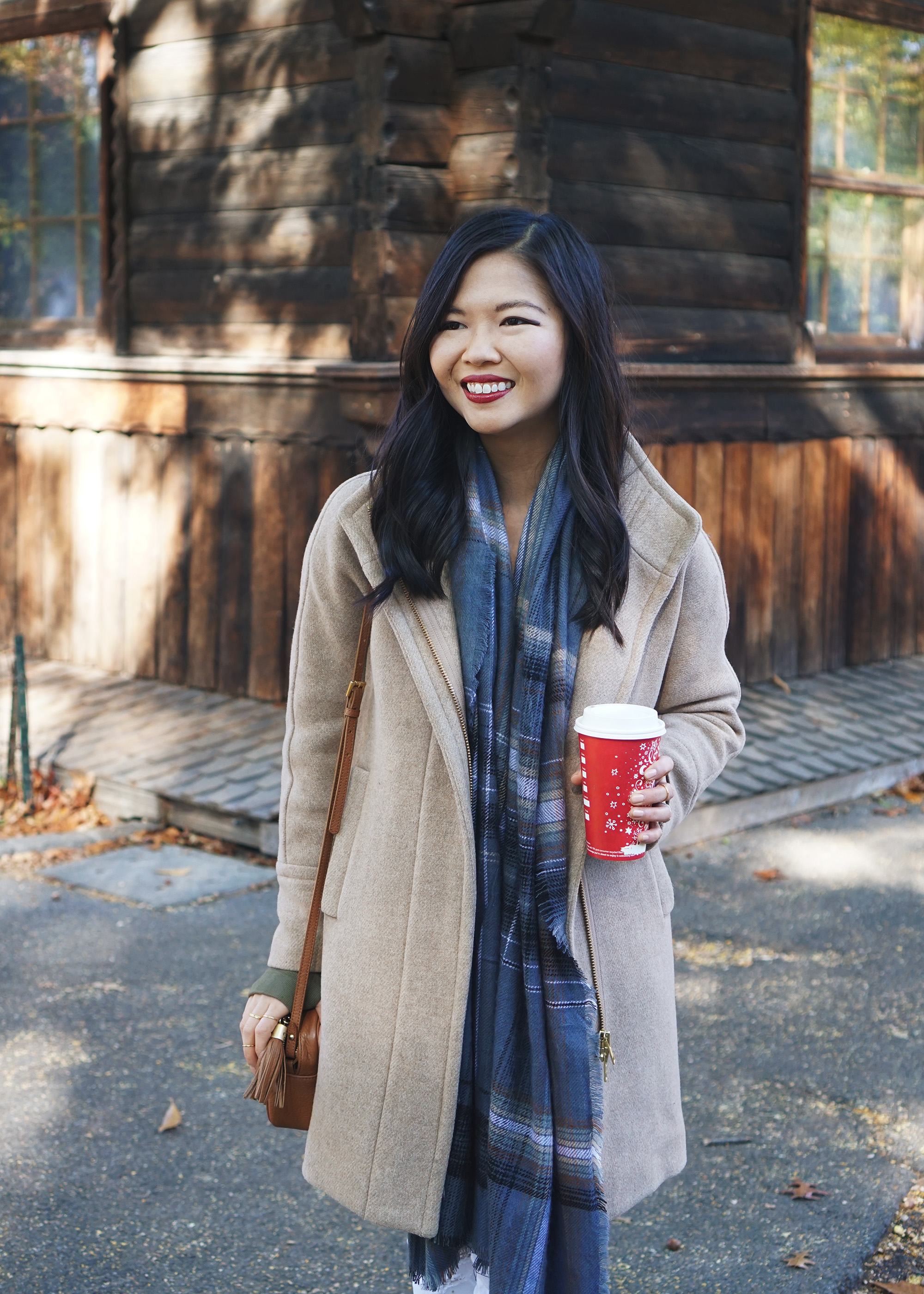 Camel Coat & Blue Plaid Scarf