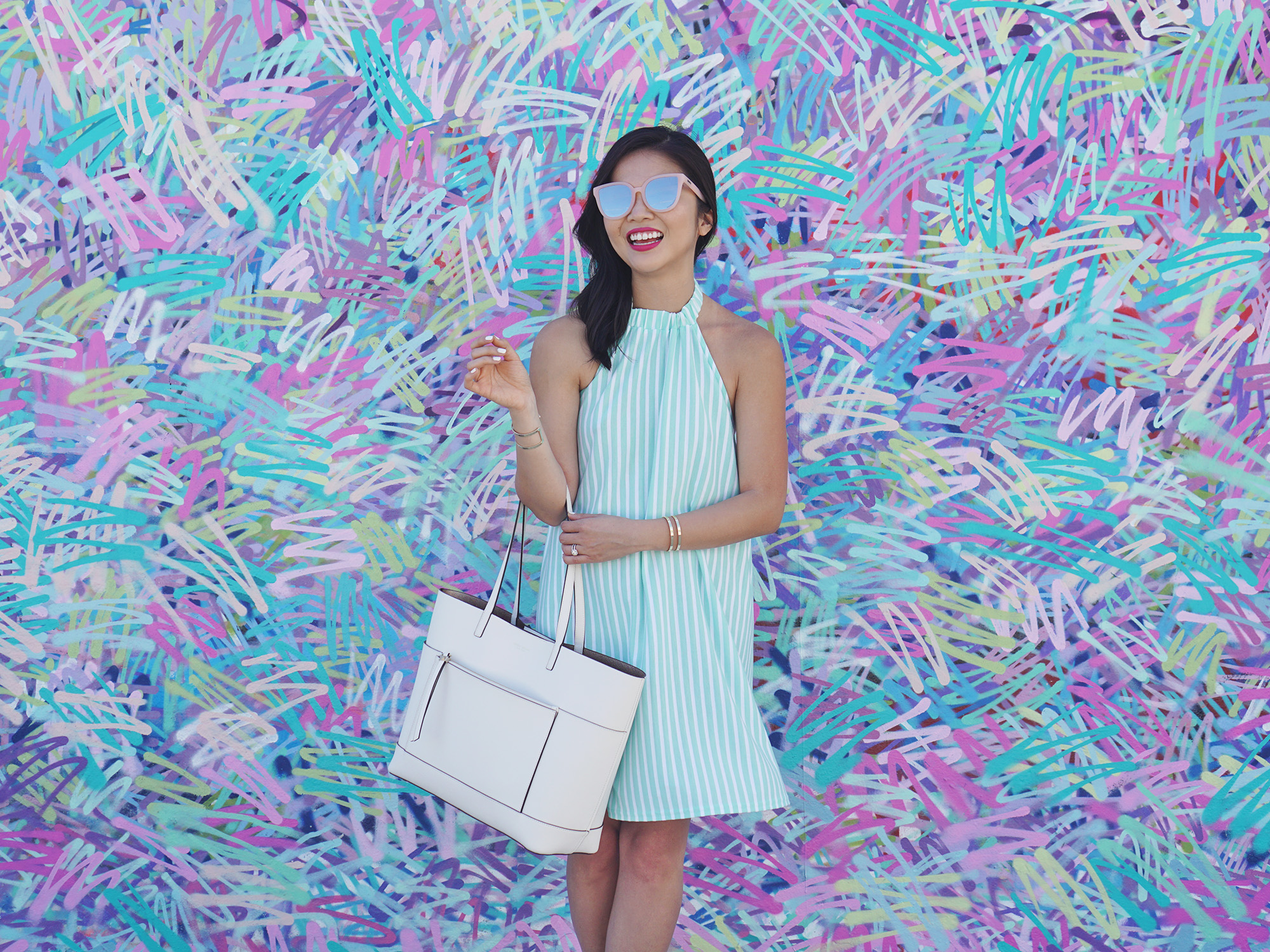 Mint & White Striped Halter Dress