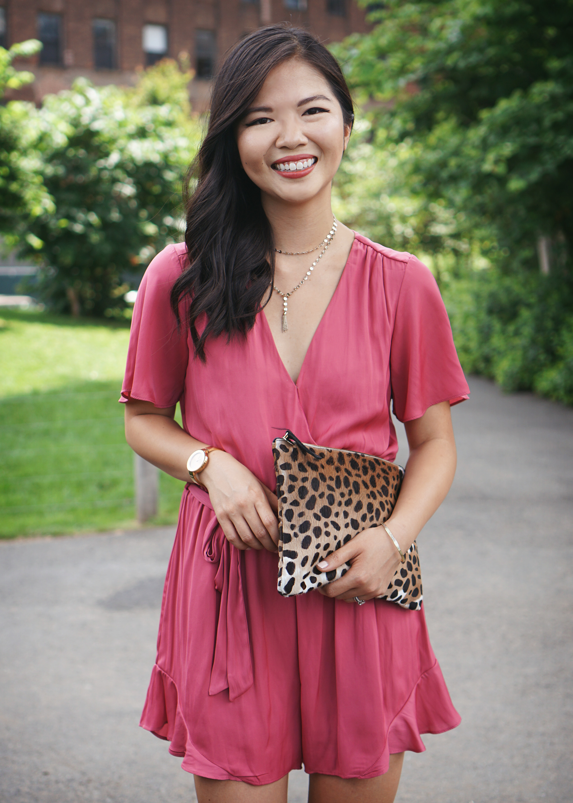 Summer Style / Pink Satin Romper & Leopard Clutch