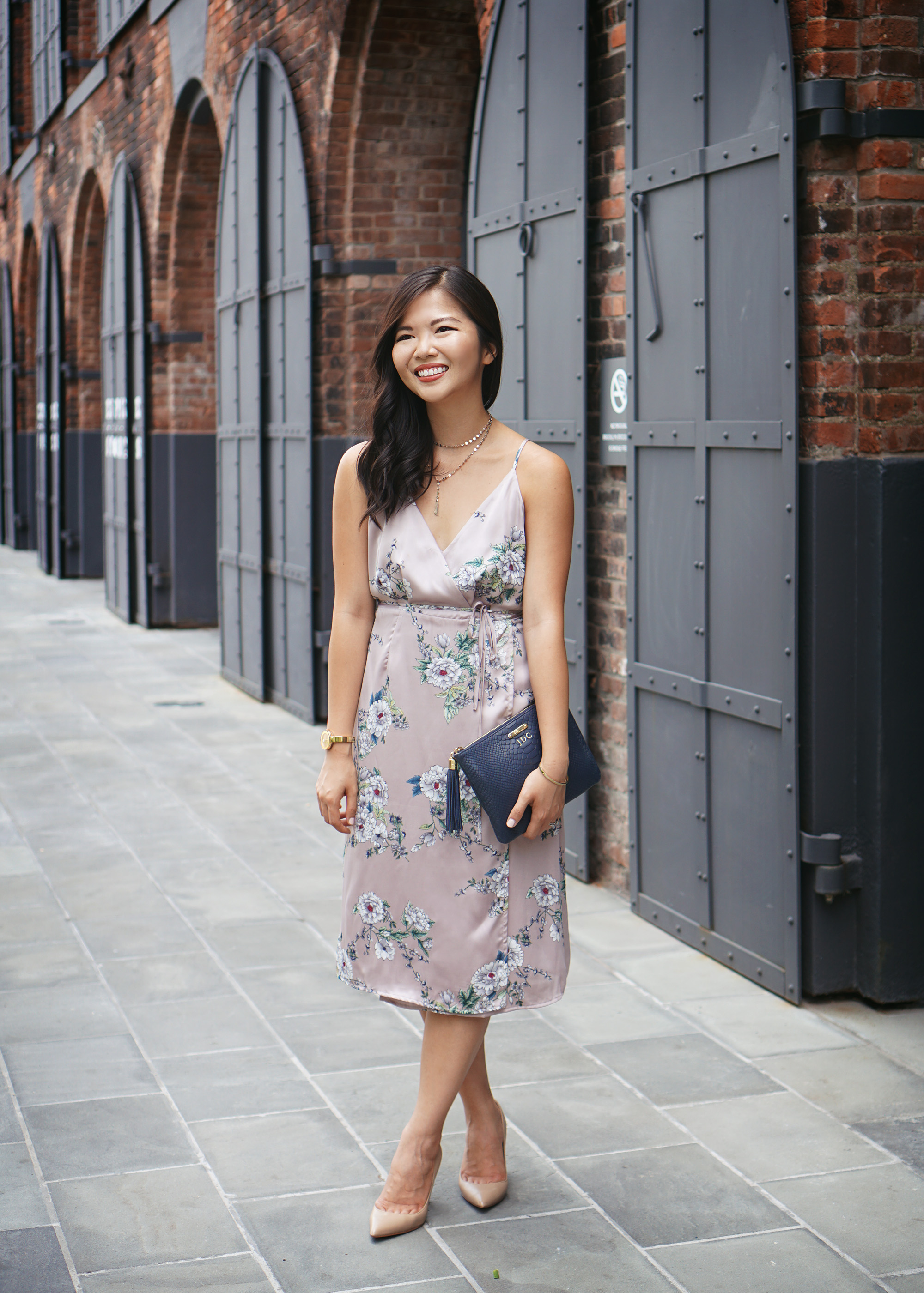 Office Fashion Inspiration / Satin Floral Wrap Dress
