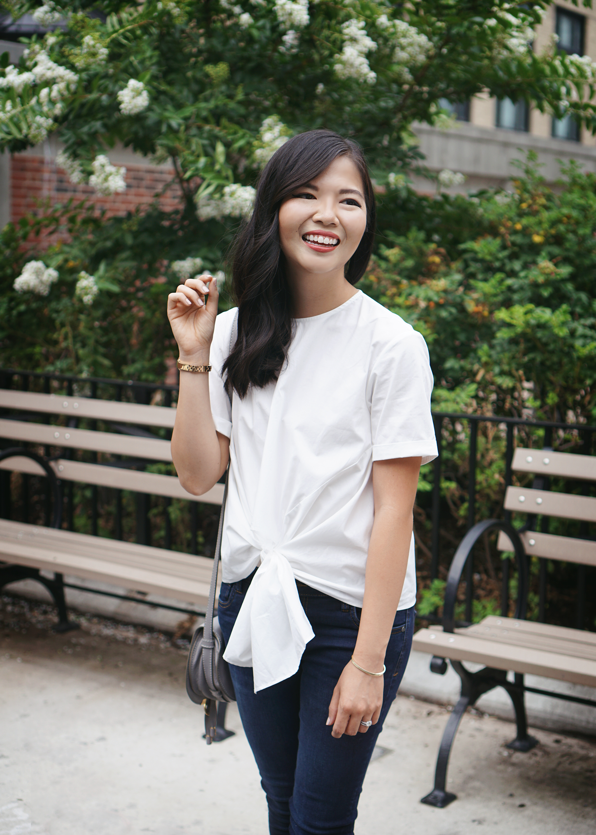 #NSale: White Tie Front Blouse & Skinny Jeans