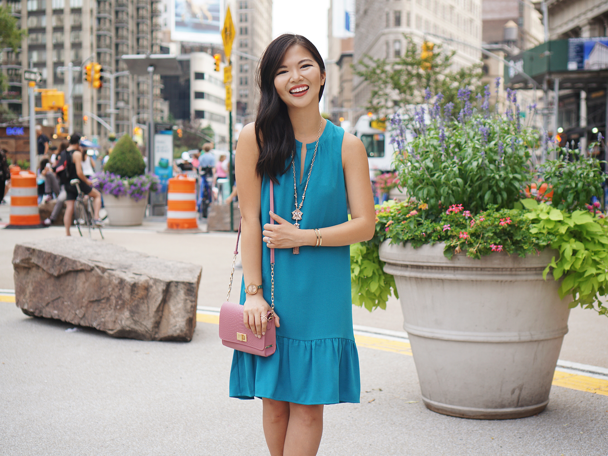 Summer Office Style: Turquoise Drop Waist Dress