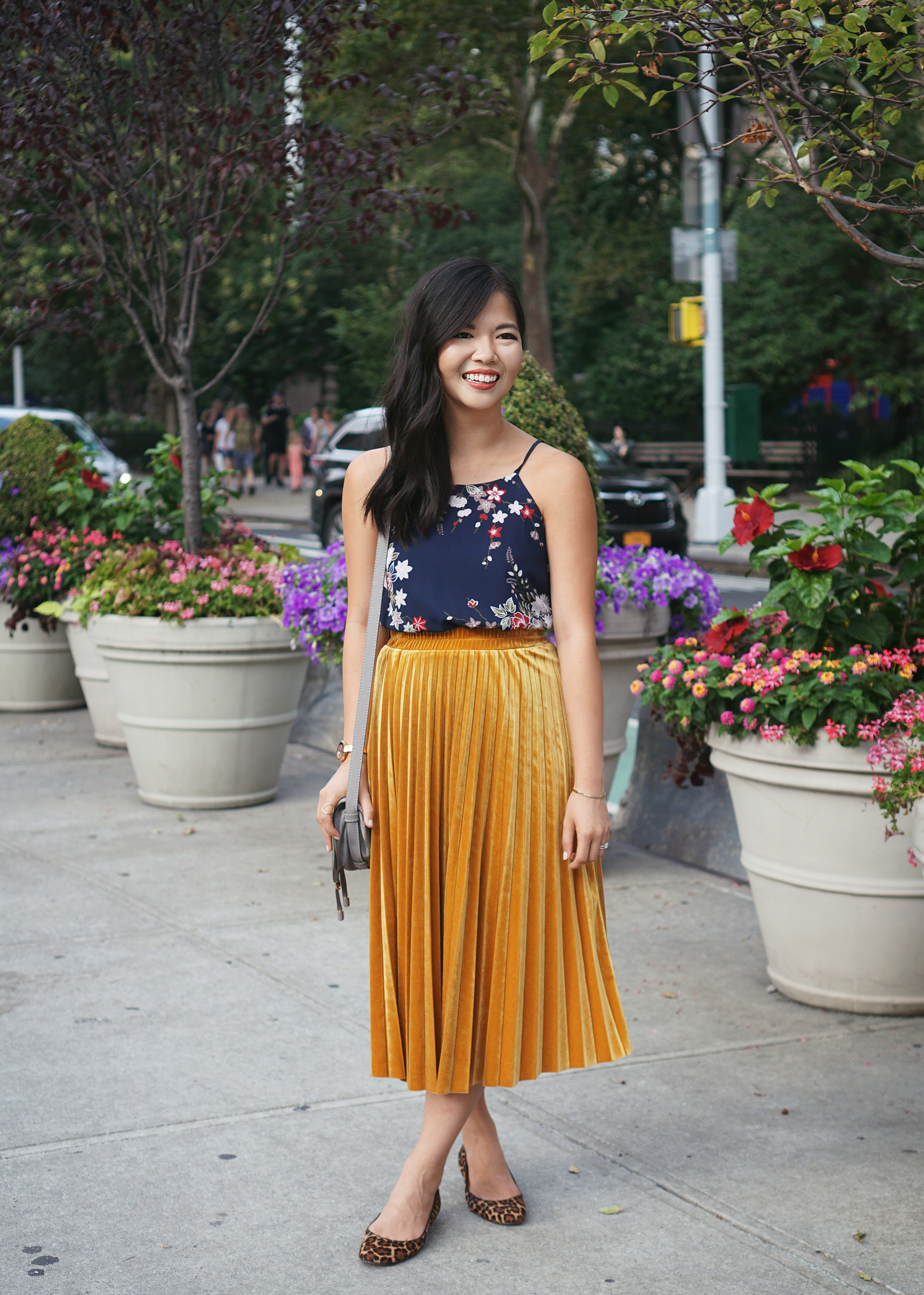 Fall Outfit Inspiration: Navy Floral Top & Mustard Velvet Skirt