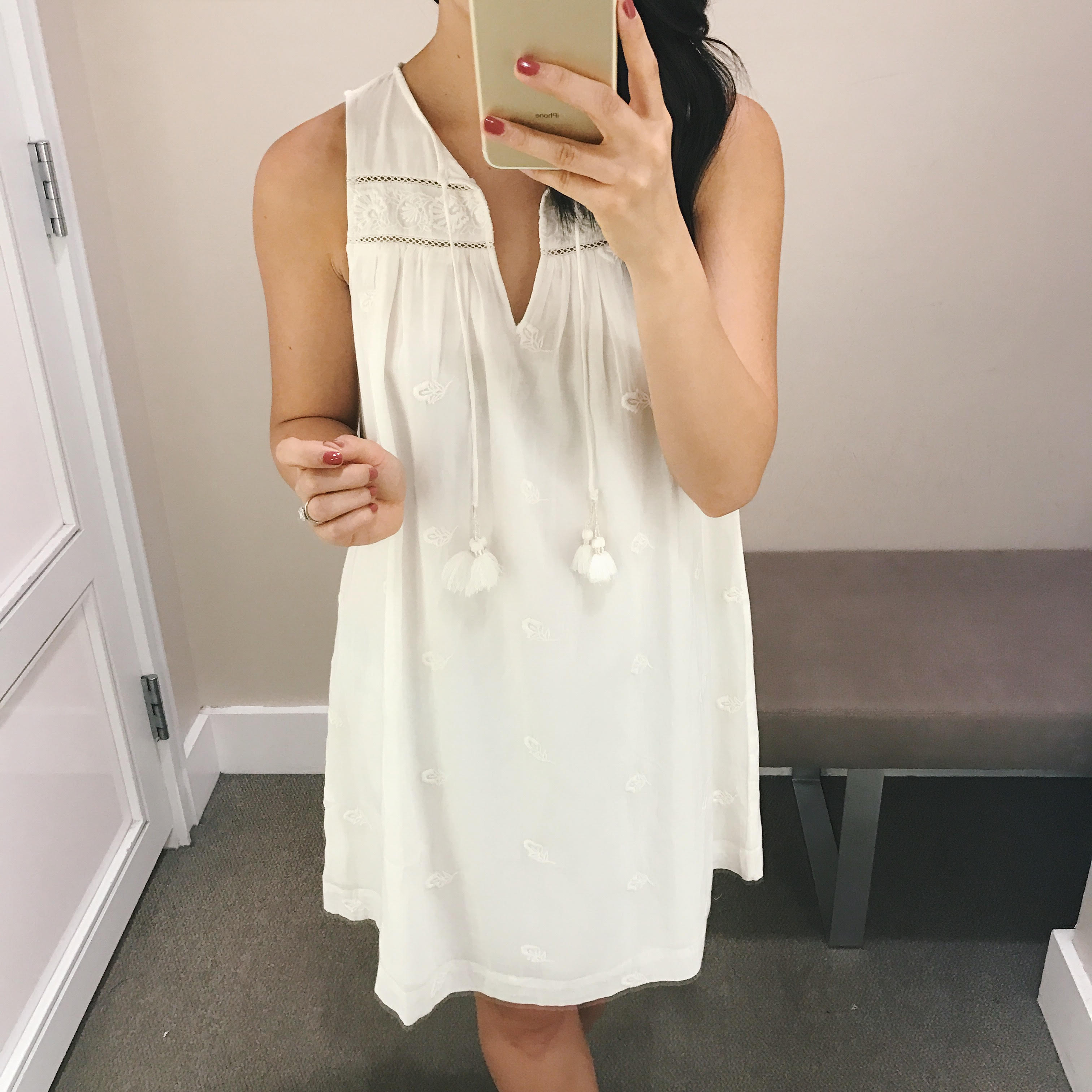 White Sleeveless Dress with Tassels