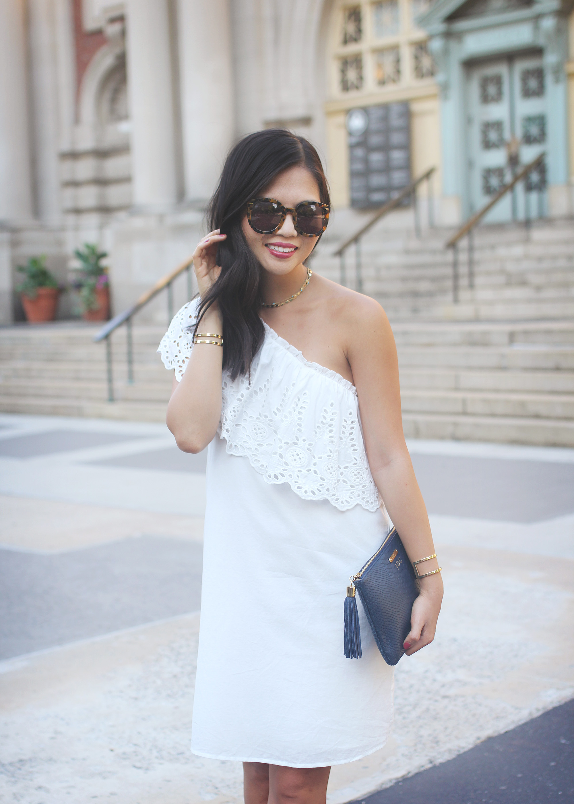 LWD: hite Eyelet One Shoulder Dress