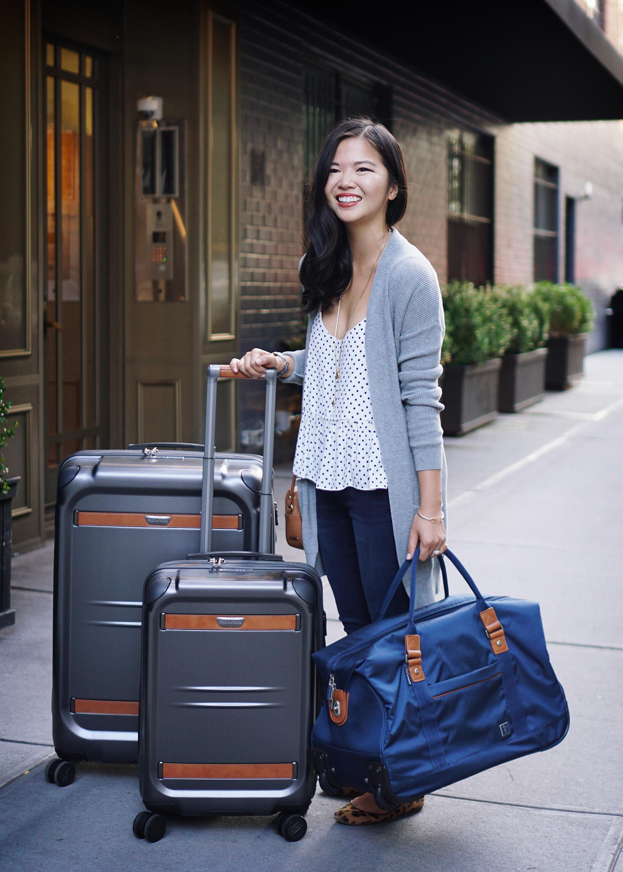 Travel Outfit Inspiration & Affordable Hardcase Luggage