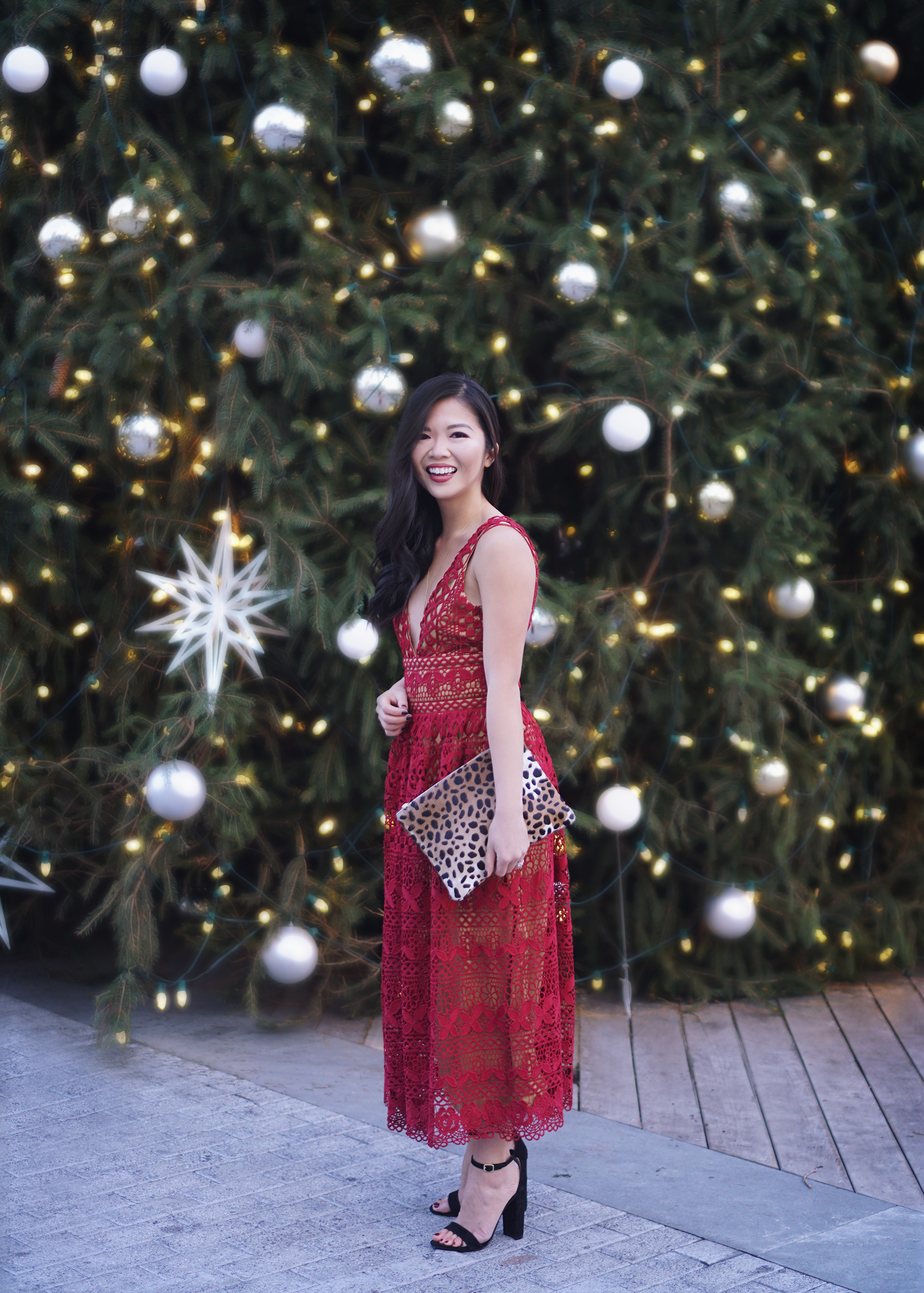 Holiday Party Style: Red Lace Dress