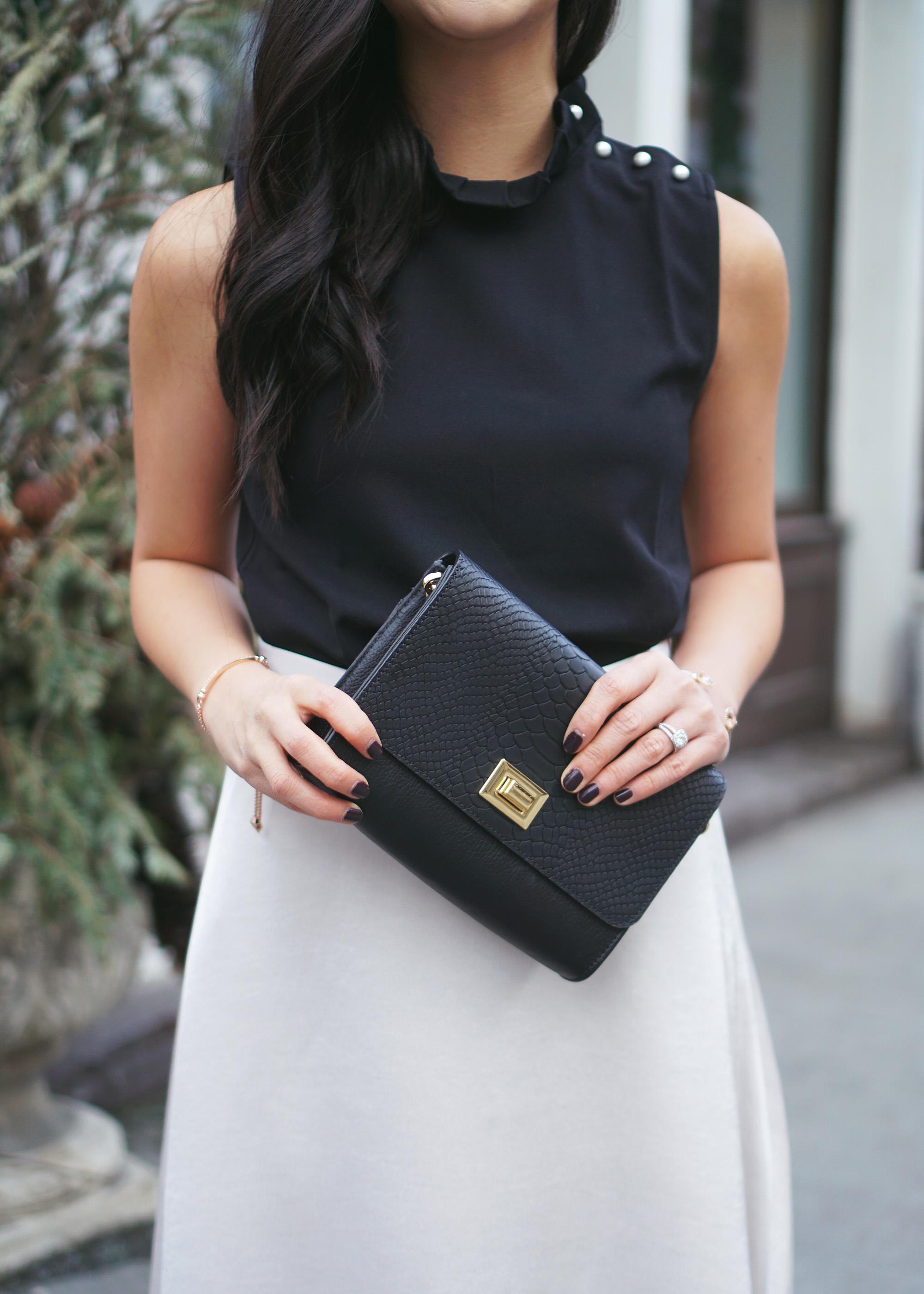 Skirt The Rules Ruffle Collar Top & Satin Midi Skirt 5