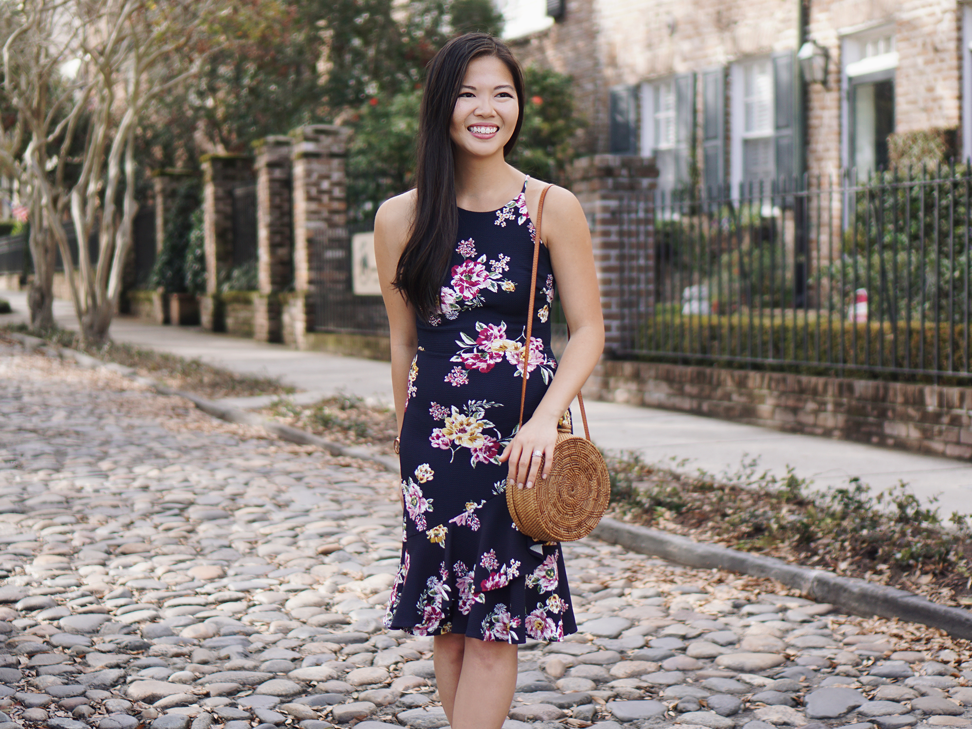 Spring Style: Navy Floral Dress & Straw Circl Bag