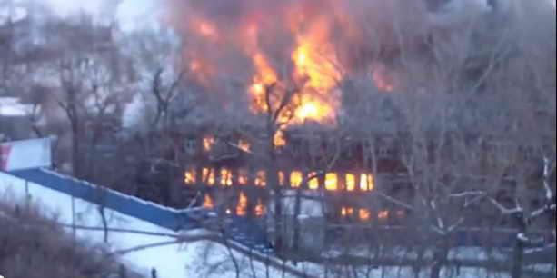 Пожар на Нагорной 1.02.2014