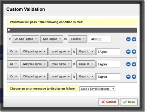 Qualtrics - Getting the user to indicate agreement