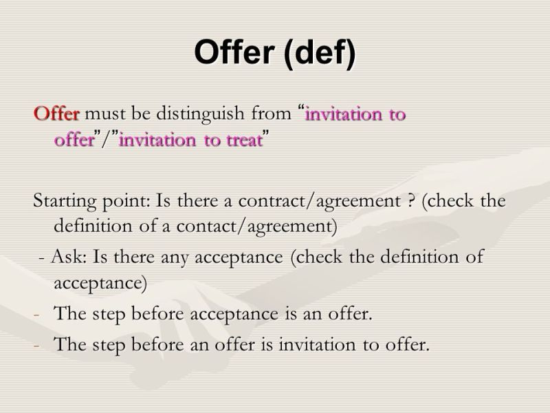 Definition of invitation to treat invitationswedd offer def must be distinguish from invitation to treat 2 contract law 1 introduction making a ppt stopboris Choice Image
