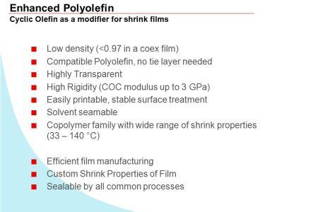 enhanced polyolefin cyclic olefin as a modifier for shrink films