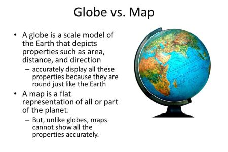 Map vs globe globe vs map a globe is a scale model of the earth that depicts properties gumiabroncs Gallery
