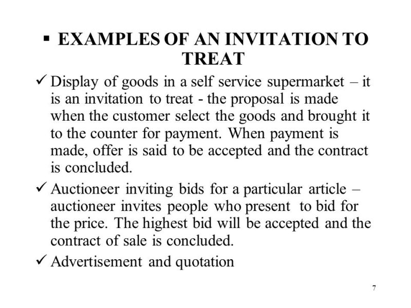 Examples of invitation to treat and offer invitationswedd contract law lecture ppt online stopboris Image collections