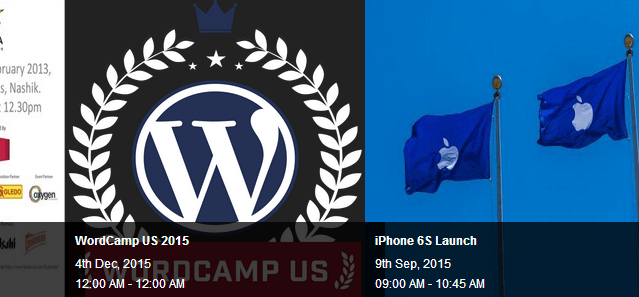 Events Carousels using Placid Slider