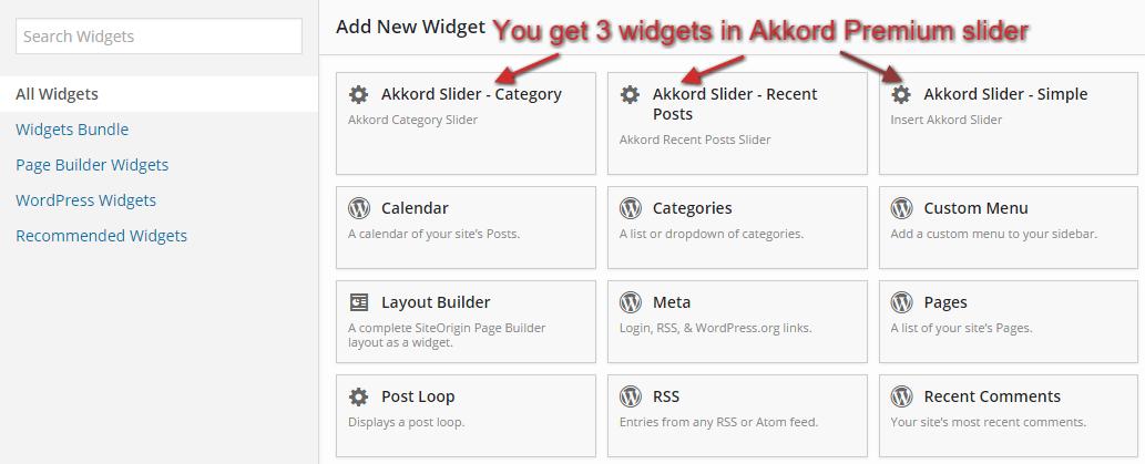 Slider widgets in page builder