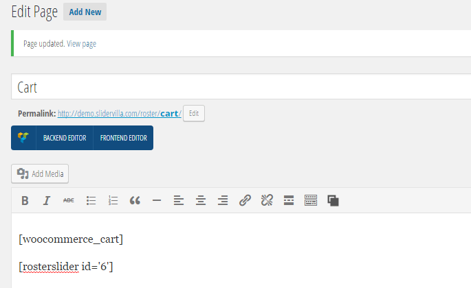 WooCommerce Cart page editor showing slider shortcode
