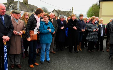 Some of the crowd listening to the speeches at the unveiling of Paddy Lowry plaque