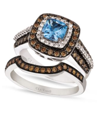 le vian chocolate white diamond aquamarine stackable rings in 14k white gold ID chocolate diamond wedding rings Le Vian Chocolate White Diamond and Aquamarine Stackable Rings in 14k White Gold Rings Jewelry Watches Macy s