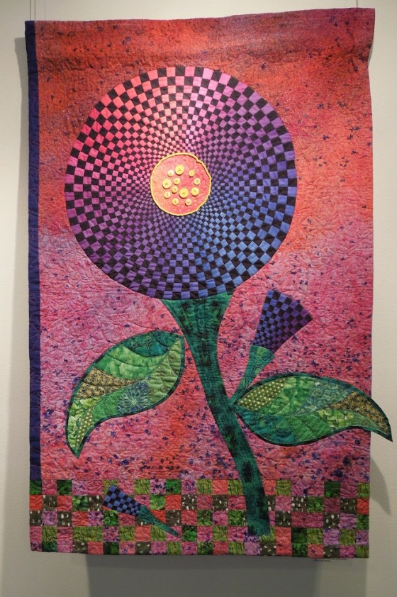 """Bachelor Button on Steroids"" an Art Quilt by Rene Jennings"