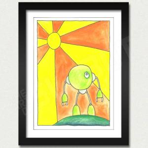 Mike Slobot Little Green Robot Print Framed