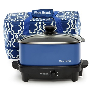 West Bend 5-Quart Versatility Slow Cooker with Insulated Tote and Transport Lid, Blue