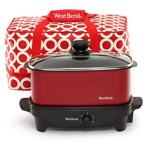 West Bend 5-Quart Versatility Slow Cooker with Insulated Tote and Transport Lid, Red