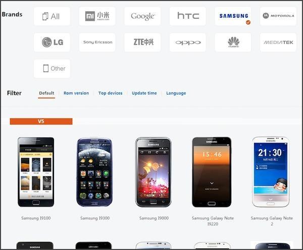 미유아이 사이트에서는 삼성 갤럭시 제품을 비롯한 타사 스마트폰에 설치할 수 있는 롬을 제공하고 있다.