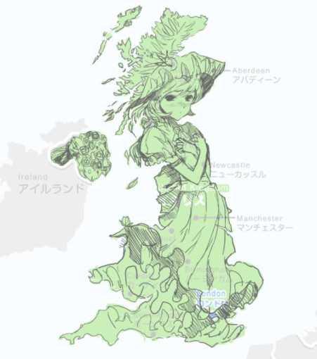 무하 스타일 만화문화의 영향으로 소위 모에화 놀이를 하는 커뮤니티의 결과물, 영국열도의 미소녀화.2011년