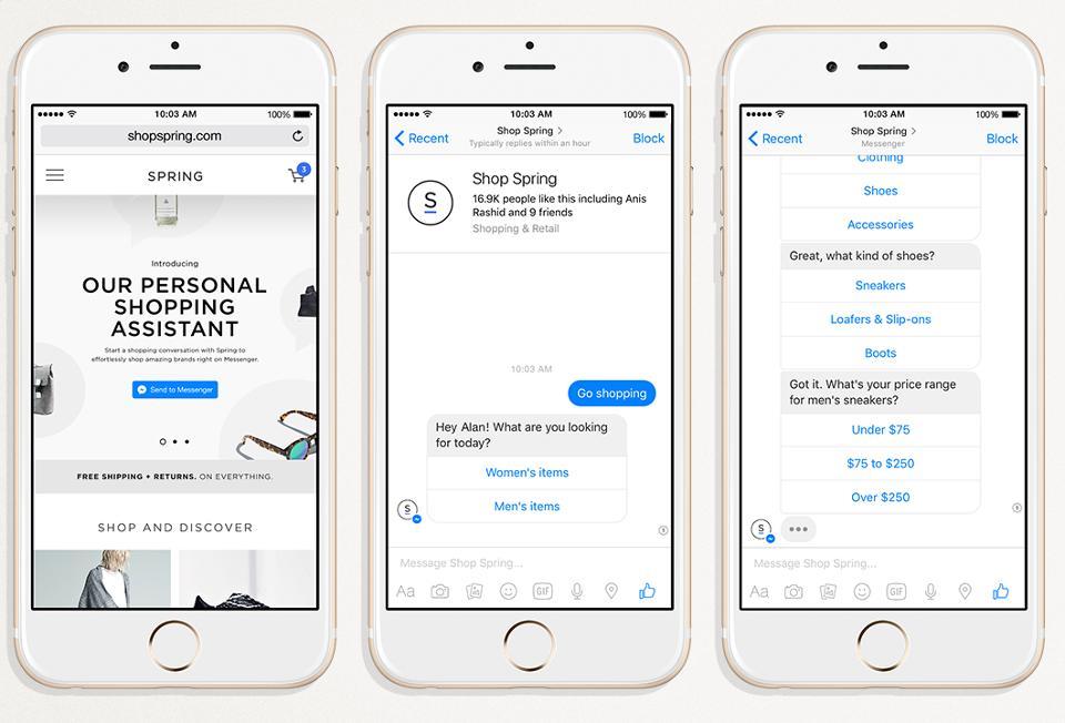 메신저 기반 봇숍에서의 쇼핑 대화 (출처: 포브스)