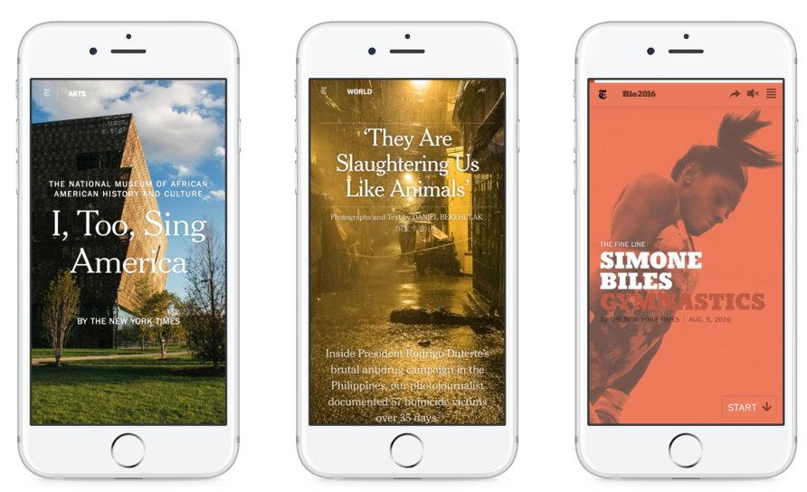 2020 보고서에서 효과적인 '비주얼 저널리즘'의 사례로 언급된 미국 흑인의 역사와 문화, 로드리고 듀테르테 대통령의 마약 방지 캠페인, 그리고 시몬 바일스의 기획 기사 (왼쪽 부터)
