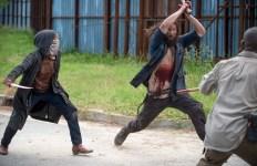 Melissa McBride as Carol Peletier and Lance Tafelski as Horseshoe Mustache Wolf - The Walking Dead _ Season 6, Episode 2 - Photo Credit: Gene Page/AMC