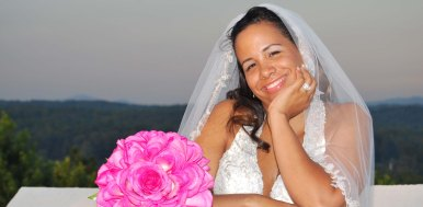 Happy bride after destination wedding