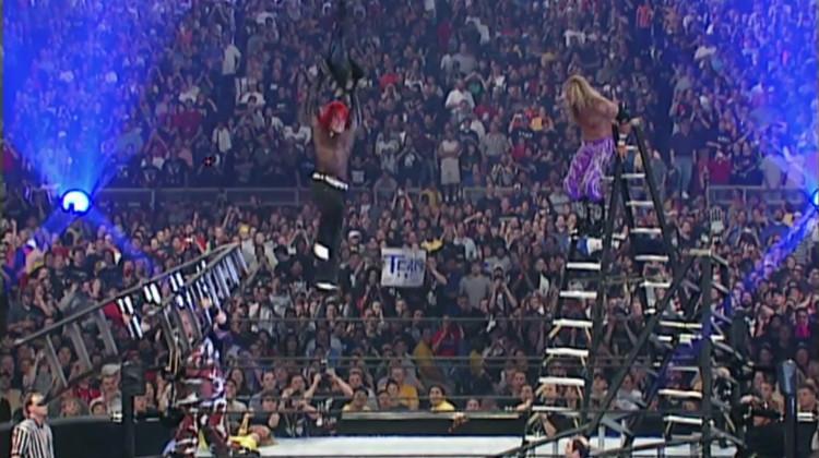 wrestlemania x-7 dudleys hardys edge christian tlc tables ladders chairs