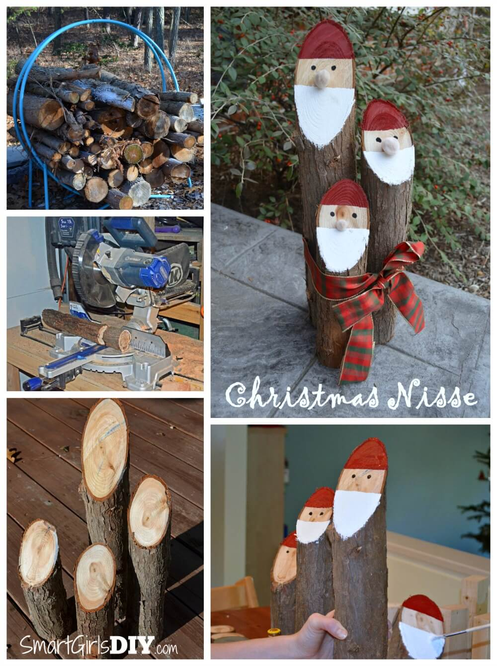 Santa Logs (Danish Nisse) Christmas Craft - super easy and makes a great gift!  By Smart Girls DIY