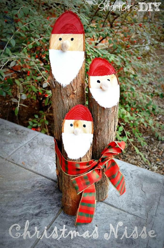 Smart Girls DIY Cedar Log Christmas Nisse -- cute and easy craft