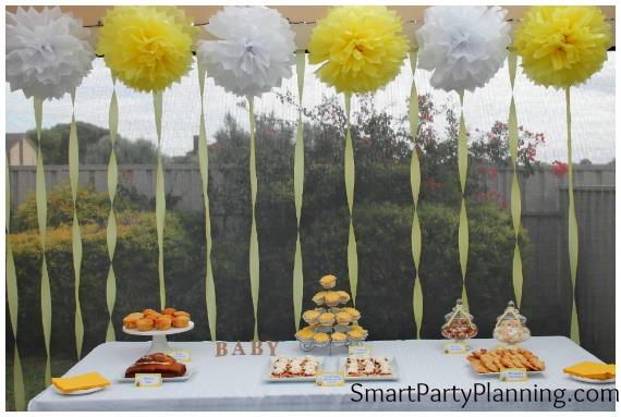 Yellow baby shower dessert table