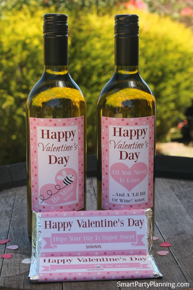 Wine and chocolate Valentines Labels