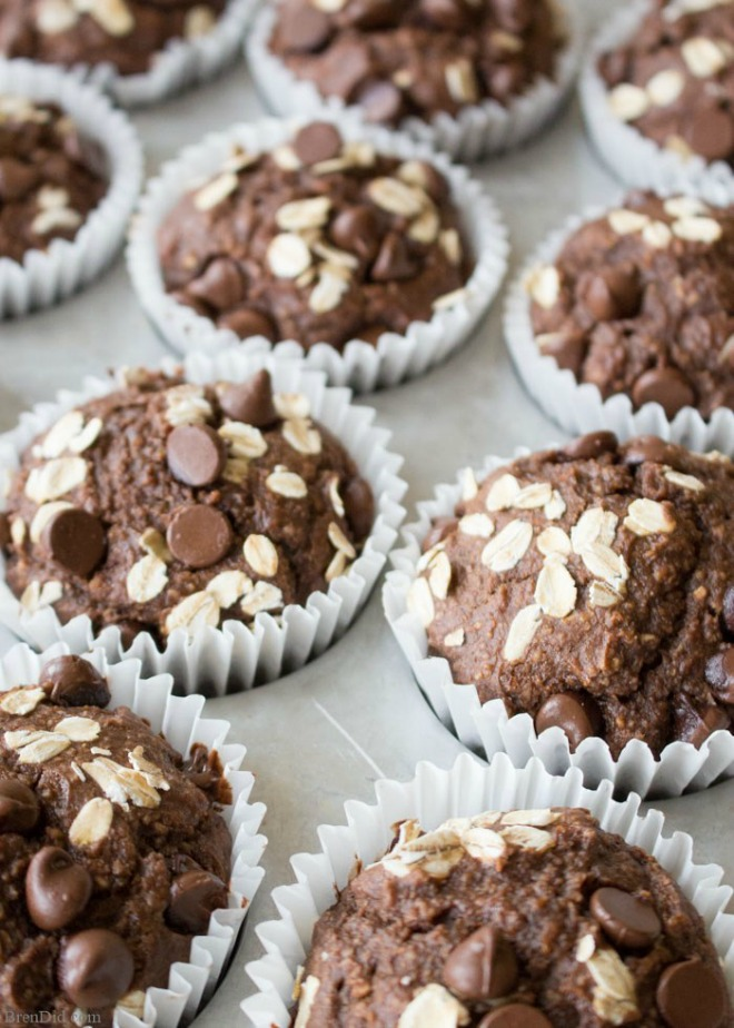 Chocolate peanut butter healthy muffins
