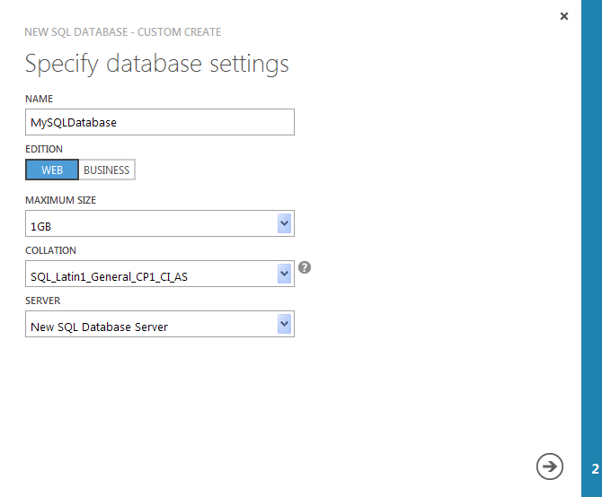 SQLSailor is exploring(Part1) - Creating my first SQL Database on Windows Azure (4/6)