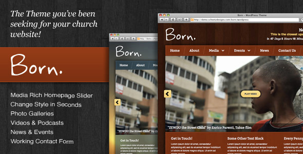 free and premium church wordpress themes born 30 Free and Premium Church Wordpress Themes