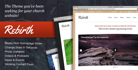 free and premium church wordpress themes rebirth 30 Free and Premium Church Wordpress Themes