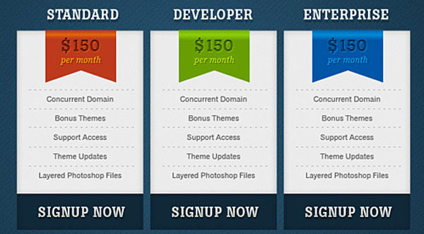 pricing table psd templates 05 37 Free Pricing Table PSD Templates