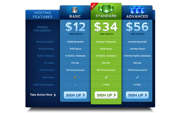 pricing table psd templates 14 37 Free Pricing Table PSD Templates